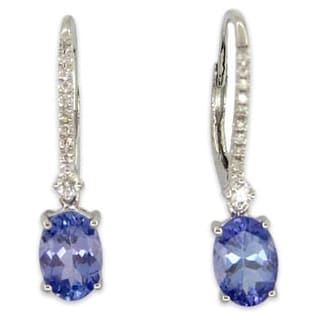 Kabella 14K White Gold Oval Tanzanite and Diamonds Leverback Dangling Earring
