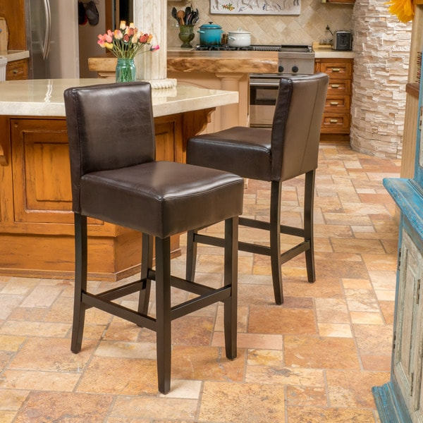Christopher Knight Home Ian Bonded Leather Barstool (Set of 2)