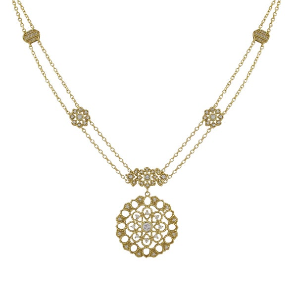 Matte Gold Finish Cubic Zirconia Lace Filigree Circle Necklace