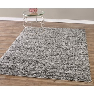 Grey and Charcoal Contemporary Plush Shaggy Area Rug (5' x 7')