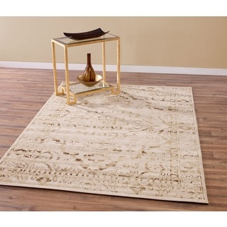 Beige and Brown Traditional Antique Style Tribal Medallion Area Rug (5'3 x 7'3)