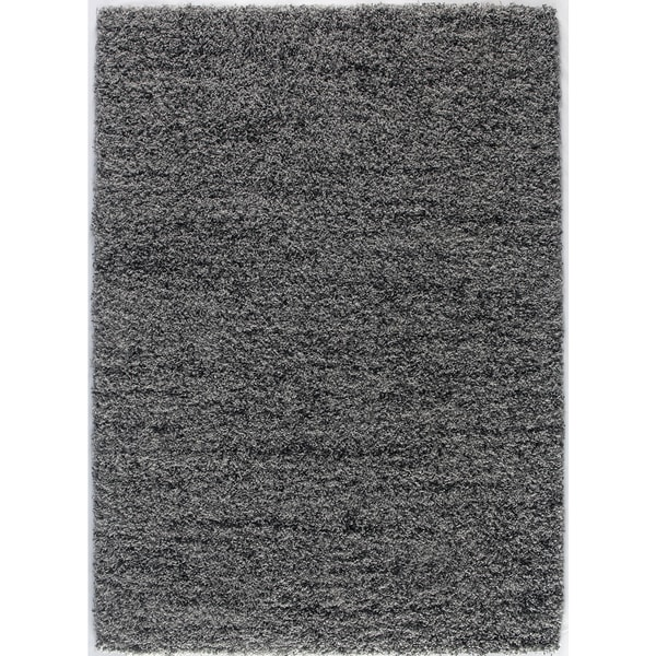 Grey and Charcoal Contemporary Plush Shaggy Area Rug (7'10 x 9'10)