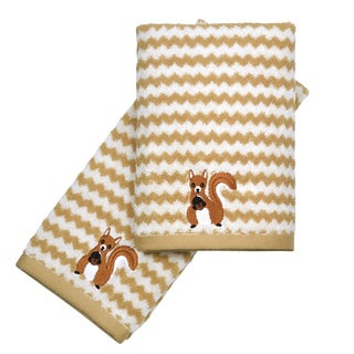 Peri Home Embroidered Squirrel 2-piece Fingertip Towel Set