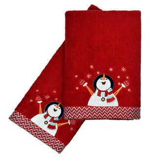 Peri Home Embroidered Snowman 2-piece Fingertip Towel Set