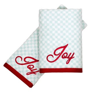 Peri Home Embroidered Joy Holiday 2-piece Fingertip Towel Set