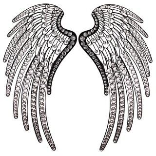 Angel Wings Handcrafted Rhinestones Metal Wall Decor