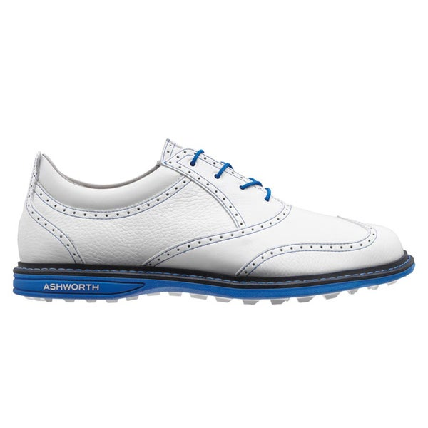 Ashworth Men's Encinitas Wing Tip Running White/ Air Force Blue/ New Navy Golf Shoes