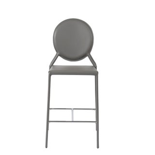 Isabella-c Grey Leather Counter Stools (Set of 2)