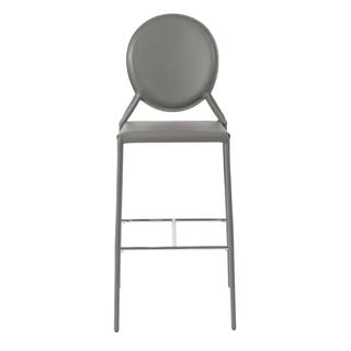 Isabella-b Grey Leather Bar Stools (Set of 2)