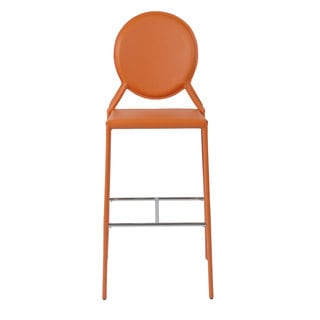 Isabella-b Orange Leather Bar Stools (Set of 2)