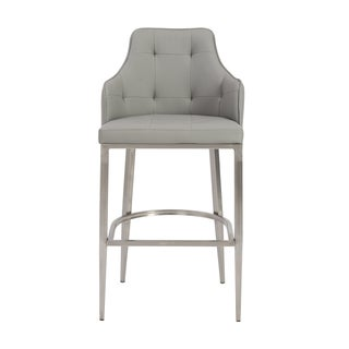 Aaron-b Grey/ Stainless Steel Bar Stool