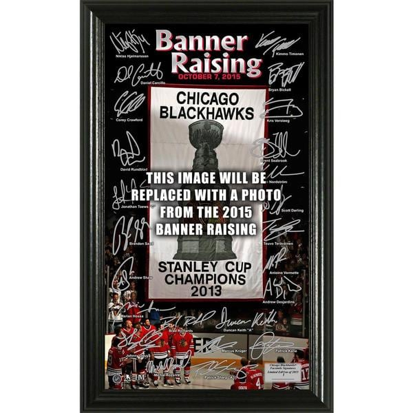 "Chicago Blackhawks 2015 Stanley Cup Champions ""Banner Raising"" Signature Pano 16458945"