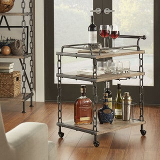 TRIBECCA HOME Blake Mobile Chain Link Mobile Kitchen Bar Serving Wine Cart