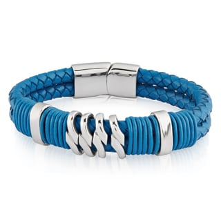 Crucible Stainless Steel Turquoise Double Rope Braided Leather Bracelet - 8.5 inches (16 mm)