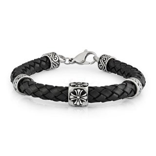 Crucible Stainless Steel Braided Black Leather Bracelet - 8.5 inches (8 mm)