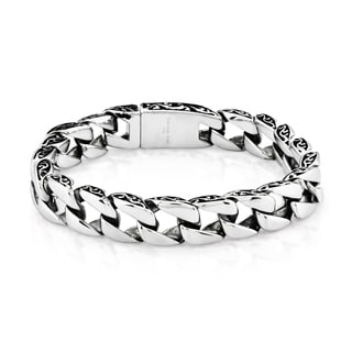 Crucible Stainless Steel Two Tone Curb Chain Bracelet - 8.5 inches (11 mm)
