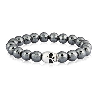 Crucible Stainless Steel Skull Faceted Hematite Stretch Bead Bracelet- 8 inches (8 mm)