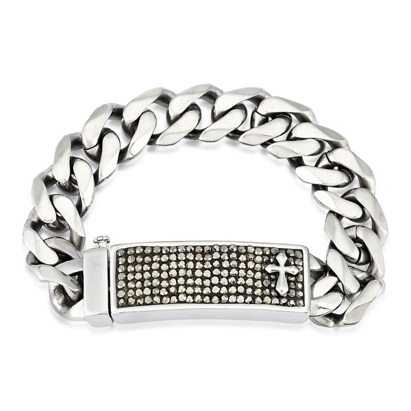 Crucible Stainless Steel Crystal Cross ID Plate Curb Chain Bracelet - 9 inches (16 mm)