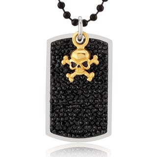 Crucible Stainless Steel Black Crystal Skull Charm Dog Tag Pendant Necklace