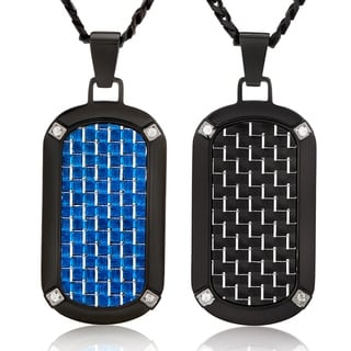 Crucible Stainless Steel Carbon Fiber with Cubic Zirconia Dog Tag Pendant Necklace