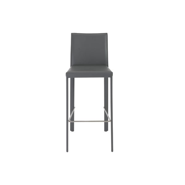 Hasina-b Grey/ Stainless Steel Bar Stools (Set of 2)