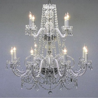 All Crystal 12 Light 2-Tier Chandelier