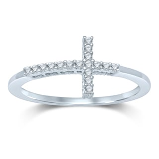 Unending Love STERLING SILVER 1/8CT TW FASHION RING WITH CROSS ON TOP (H-I/I1-I2)