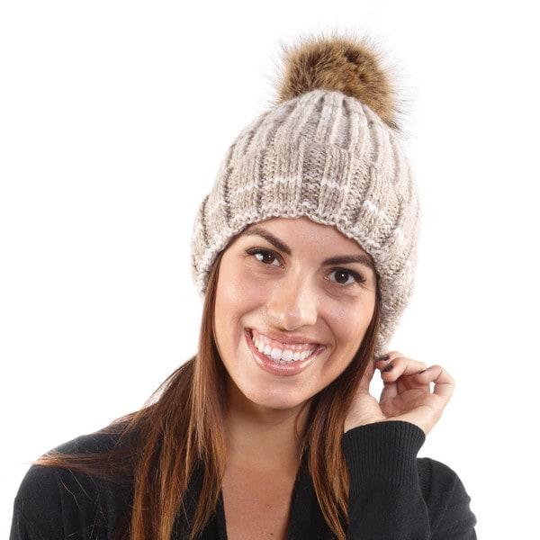 Hadari Women's Knit Beanie W/ Soft Puff