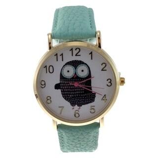 Women's Mint Green Faux Leather Owl Dial Watch Gold Bezel Easy Read Dial