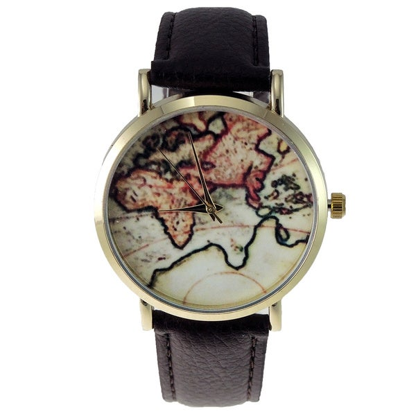 Women's Vintage Style World Map Brown Faux Leather Watch