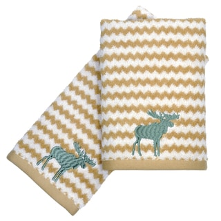 Peri Home Embroidered Moose 2-piece Fingertip Towel Set