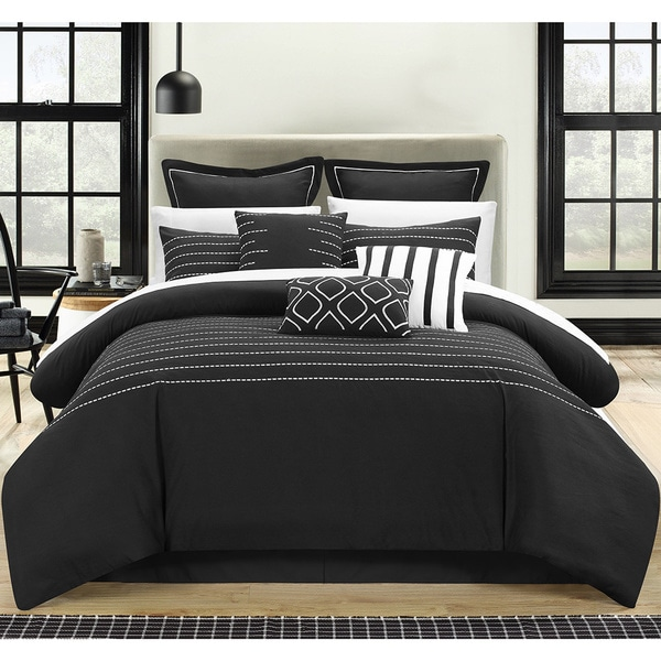 Chic Home Karlston Stitch Embroidered Black 9-piece Comforter Set