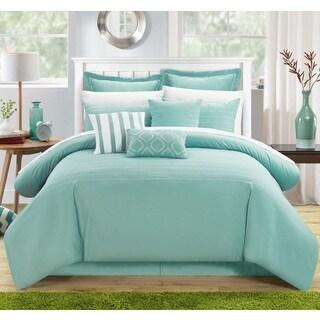 Chic Home Karlston Stitch Embroidered Blue 9-piece Comforter Set