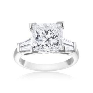 SummerRose Platinum 5 1/2ct TDW Princess-cut and Tapered Baguette Diamond Ring (F-G, SI1-SI2)