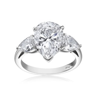 SummerRose Platinum 5 3/4ct TDW Pear-cut Diamond 3-stone Ring (F-G, SI1-SI2)