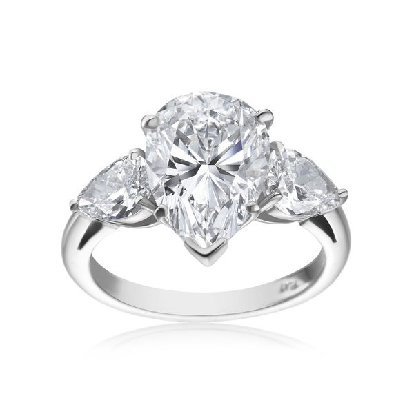 SummerRose Platinium 5 3/4ct TDW Pear-cut Diamond 3-stone Ring (F-G, SI1-SI2)