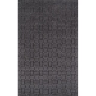 Manhattan Basketweave Charcoal Wool Area Rug (8' x 10')