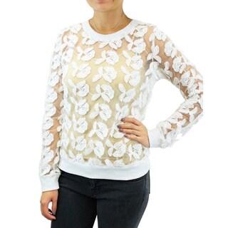 Relished 'JOA' Sugar Flower Sheer Sweater
