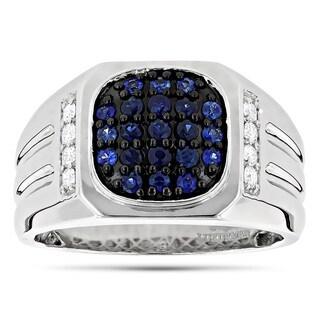 Luxurman 14k White Gold Men's 1ct TDW Diamond and Blue Sapphire Pinky Ring (G-H, VS1-VS2)