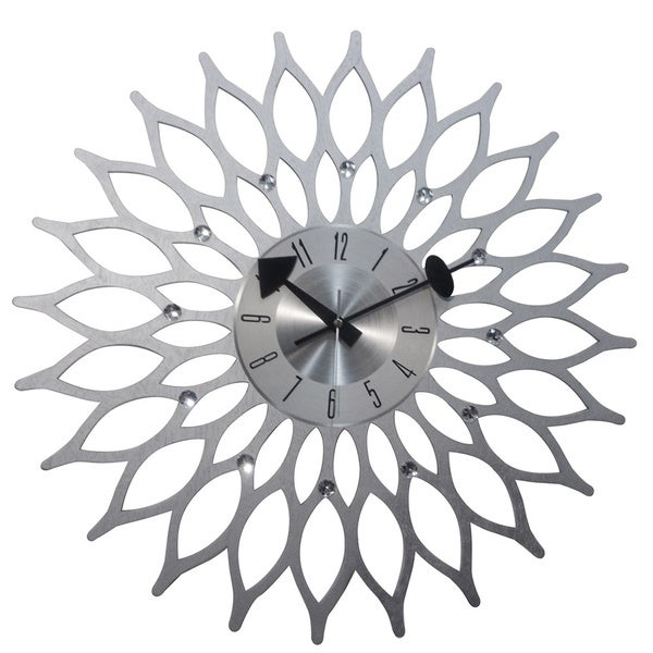 Mid Century Modern Wooden 20-inch Sunflower Clock 16459913