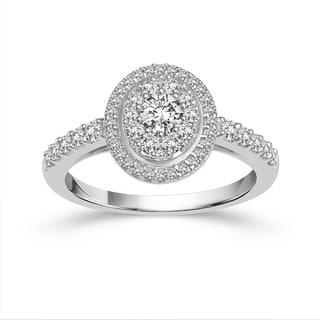 10k White Gold 1ct TDW Diamond Halo Engagement Ring (H-I, I1-I2)