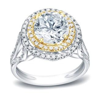 Auriya 14k Gold 1 3/4 ct TDW Double Halo Diamond Engagement Ring (H-I, I1-I2)
