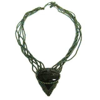 "Hand-beaded ""Peaceful Warrior"" Semi-precious Stone Necklace (Guatemala)"