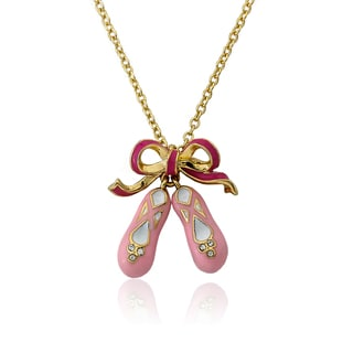 Little Miss Twin Stars 14k Pink Ballet Shoes Gold Necklace for Any Little Ballerina
