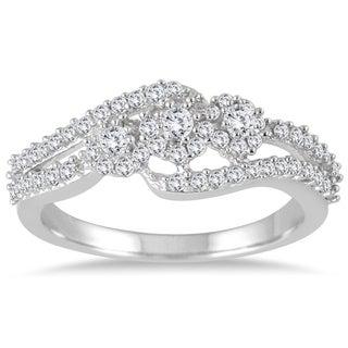 Marquee Jewels 1/2 Carat Diamond Three Stone Ring in 10K White Gold (I-J, I2-I3)