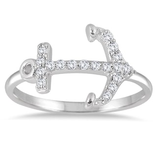 Marquee Jewels 1/5 Carat Diamond Anchor Ring in 14K White Gold (I-J, I2-I3)