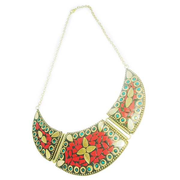 Red and Gold Mosaic Handmade Fashion Jewelry Necklace