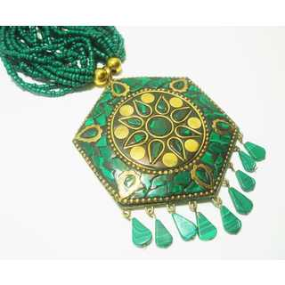 Green and Gold Mosaic Seed Bead Pendant Necklace