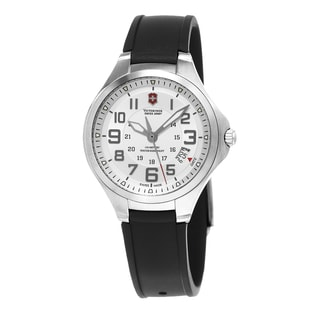 Swiss Army Men's 241332 'Base Camp' Silver Dial Black Rubber Strap Swiss Quartz Watch