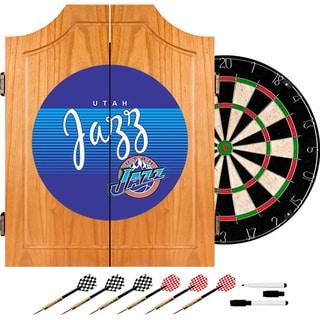 Utah Jazz Hardwood Classics NBA Wood Dart Cabinet
